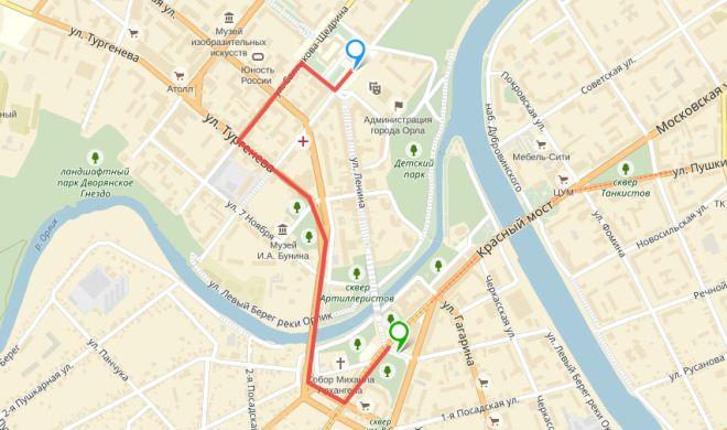 Синяя метка - точка сбора, зеленая - финал шествия